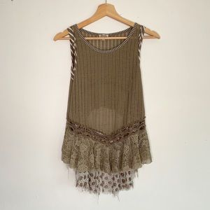 Gimmicks by BKE Sheer Knit Taupe Tank Top